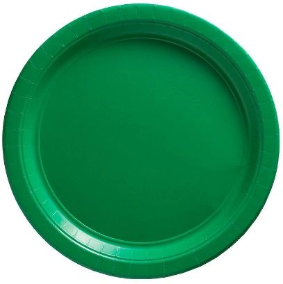 """Big Party Pack Festive Green Dessert Paper Plates, 7"""" - 50ct"""
