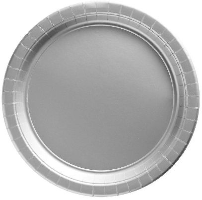 """Big Party Pack Silver Dessert Paper Plates, 7"""" - 50ct"""