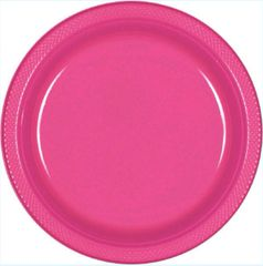 "Bright Pink Plastic Plates, 7"" - 20ct"