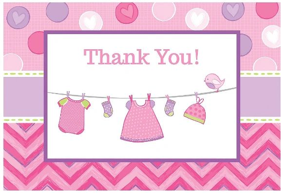 It's a Girl Baby Shower Thank You Notes, 8ct