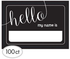 Black & White Hello Name Tags, 100ct