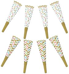Confetti Fun Foil Horns, 8ct