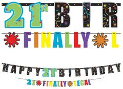 21st Brilliant Birthday Illustrated Letter Banner Combo Pack, 2ct