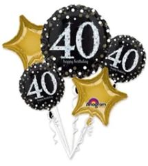 Sparkling Celebration 40th Birthday Balloon Bouquet 32""