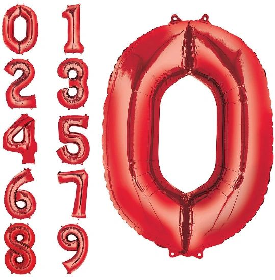 """34"""" Number Balloons - Red"""
