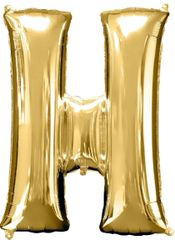 "34"" Gold Letter H Balloon"