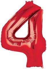 "34"" Red #4 Mylar Balloon"