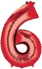 "34"" Red #6 Mylar Balloon"