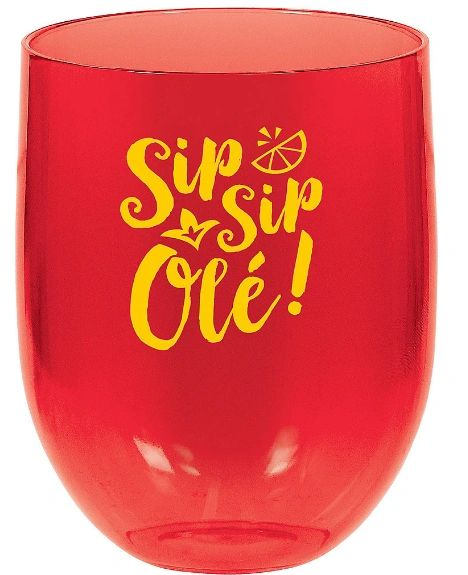 Metallic Fiesta Plastic Stemless Wine Glass