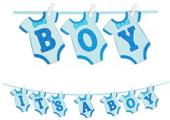 Boy's Onesie Clothespin Banner, 12ft