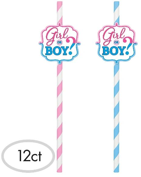 Girl or Boy? Paper Straws, 12ct