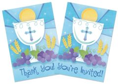 Blue First Communion Invitations & Thank You Notes, 20ct
