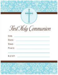 Blue First Communion Invitations, 20ct