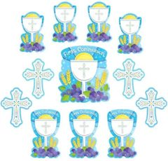 Blue First Communion Cutouts, 12ct