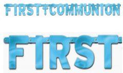 Blue First Communion Letter Banner, 8 3/4ft