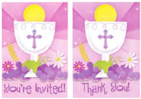 Pink First Communion Invitations & Thank You Notes, 20ct