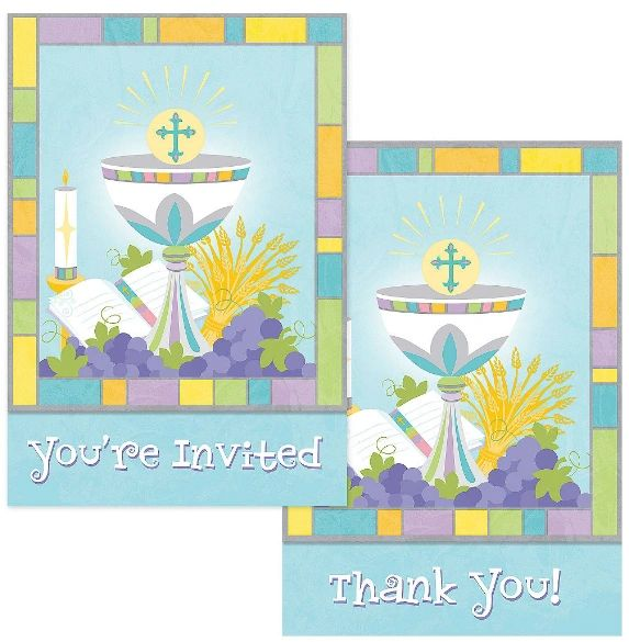 Joyous Communion Invitation & Thank You Note Set for 10