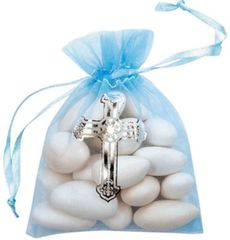 Blue Organza Favor Bags with Cross, 12ct