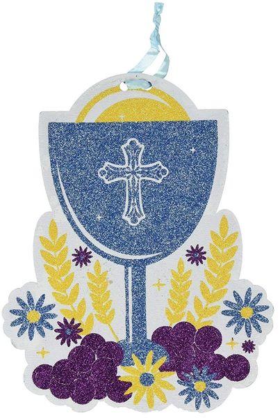 Glitter Blue Chalice Communion Sign