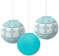 Blue Communion Paper Lanterns 3ct