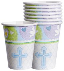 Blue Sweet Religious Cups, 9oz - 8ct