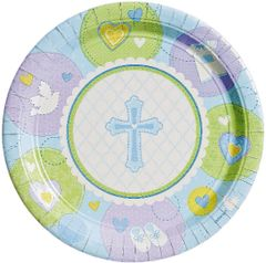 "Blue Sweet Religious Dinner Plates, 10 1/2"" - 8ct"