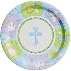 "Blue Sweet Religious Dessert Plates, 7"" - 8ct"