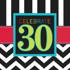 30th Celebration Beverage Napkins, 16ct