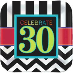 "30th Celebration Square Plates, 7"" - 8ct"