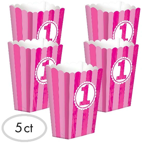 Pink Striped 1st Birthday Popcorn Boxes, 5ct