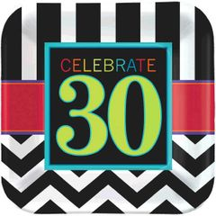 "30th Celebration Square Plates, 9"" - 8ct"