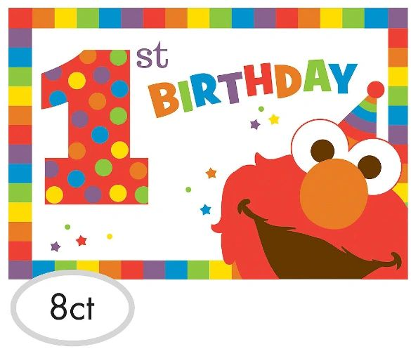 Sesame Street® Elmo Turns One Postcard Invitations, 8ct