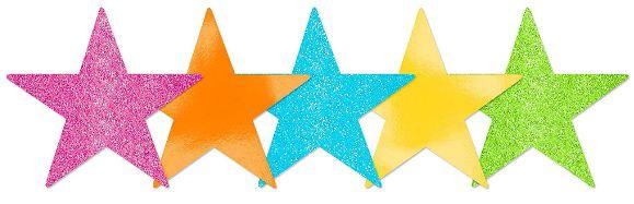 Mini Glitter Multicolor Bright Star Cutouts, 5ct