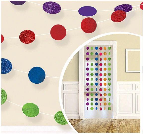 Glitter Rainbow Polka Dot String Decorations, 6ct