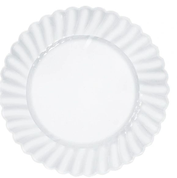 "CLEAR Premium Plastic Scalloped Dinner Plates, 10 1/4"" - 12ct"