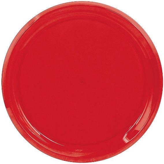"Red Plastic Round Platter, 16"""
