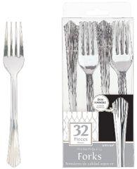 Fan Handled Fork - Silver-look, 32ct
