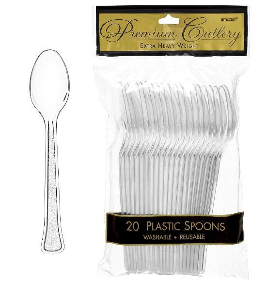 Clear Premium Heavy Weight Plastic Spoons, 20ct