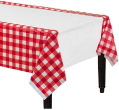 American Summer Red Gingham Plastic Table Cover