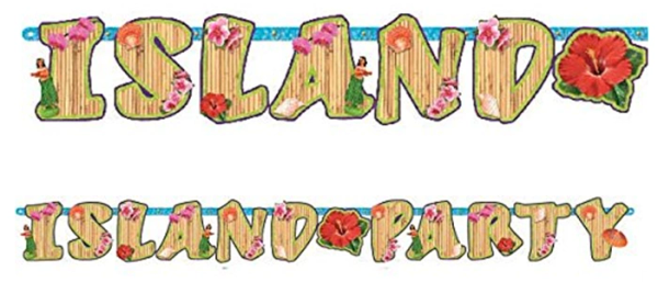 Club Luau Illustrated Letter Banner, 6 1/2ft