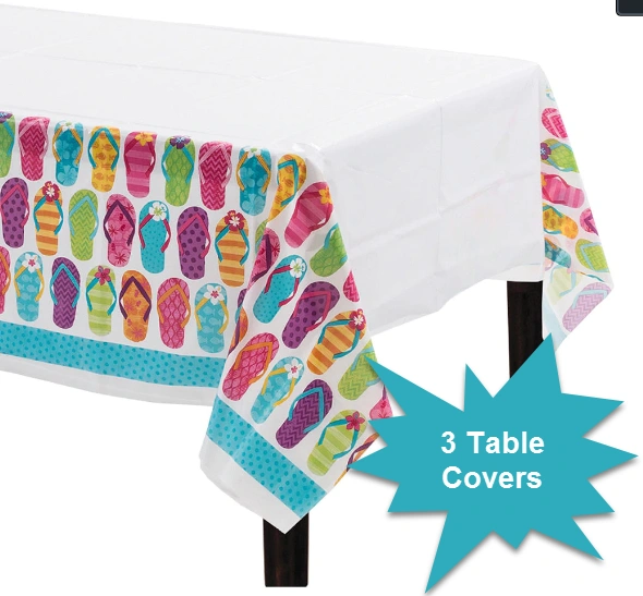 Flip Side Plastic Table Covers, 3ct