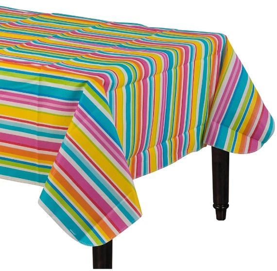 Summer Stripes Flannel-Backed Vinyl Table Cover