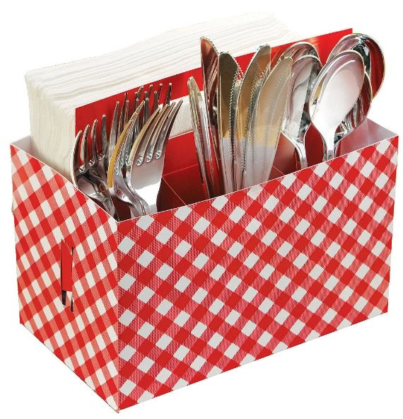 Picnic Party Cardboard Utensil Caddy