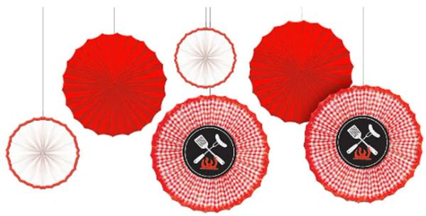 Picnic Party Red Gingham Paper Fan Decorations, 6ct