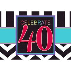 40th Celebration Invitations, 8ct