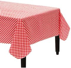 Picnic Party Red Gingham Table Cover, Flannel-Backed Vinyl