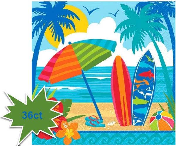 Sun And Surf Beverage Napkins, 36ct
