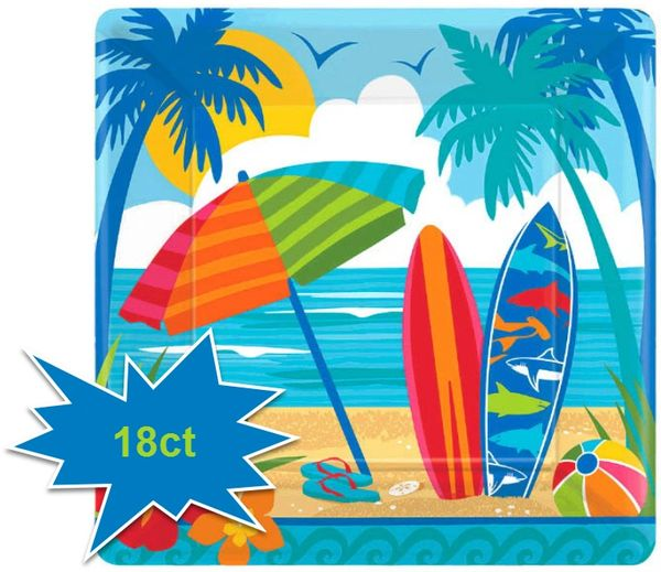 """Sun and Surf Square Dinner Plates,10"""" - 18ct"""