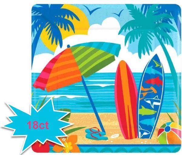 "Sun and Surf Square Dessert Plates, 7"" - 18ct"