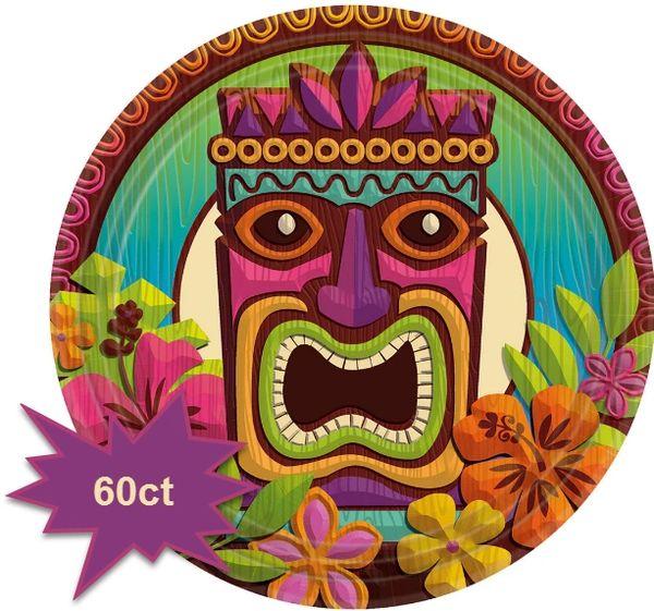 "Tropical Tiki Luncheon Plates, 9"" - 60ct"